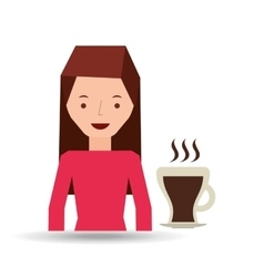 woman cute cup coffee hot graphic vector image
