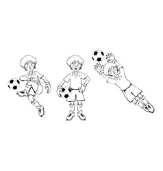 boy soccer goalkeeper vector image