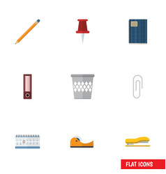 flat icon stationery set of trashcan dossier vector image vector image