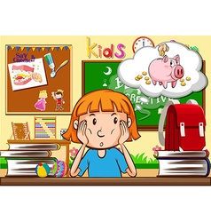 Little girl sitting in the classroom vector