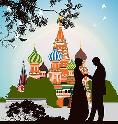 Man does offer a woman on the Red Square vector image vector image