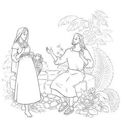 samaritan woman at the well coloring page vector image