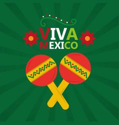 viva mexico music maracas celebration poster vector image vector image