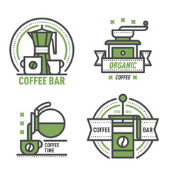 Coffee badge logo food design thin line lettering vector