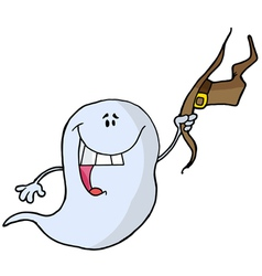 Ghost Holding His Hat And Smiling vector image vector image