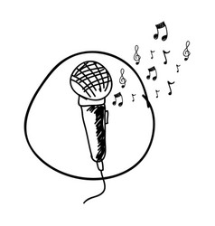 monochrome hand drawing of microphone in circle vector image