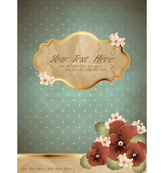 Romantic blue vintage banner with flowers vector image vector image