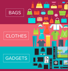 Shopping mall flyers set in flat design vector