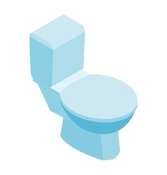 Toilet pan with closed seat isometric 3d icon vector