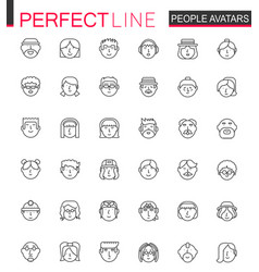 avatar thin line web icons set people head vector image