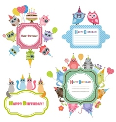 Birthday frames with owls and cats vector image vector image