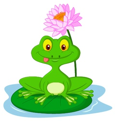 Green frog cartoon sitting on a leaf vector image vector image