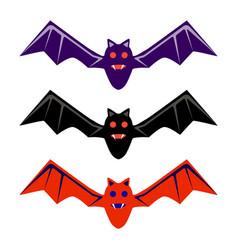halloween black red purple flying bat icon set vector image
