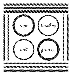 set of rope brushes and frames vector image vector image