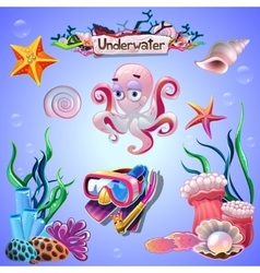 Set of underwater items vector image