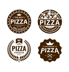 Vintage pizza logo label badge set vector image vector image