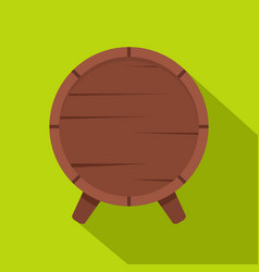 wooden barrel on legs icon flat style vector image