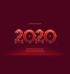 2020 christmas alphabet luxury style vector image