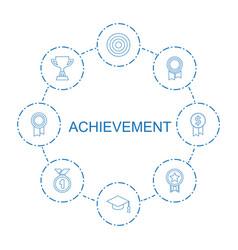 8 achievement icons vector