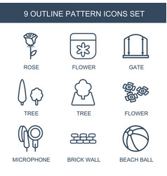 9 pattern icons vector image
