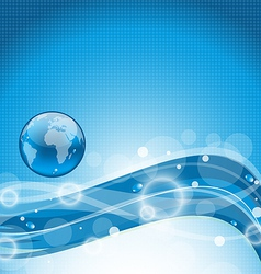 Abstract wavy water background with earth symbol vector