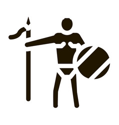 Aztec with spear and shield vector