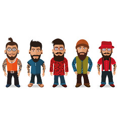 bearded men hipsters vector image