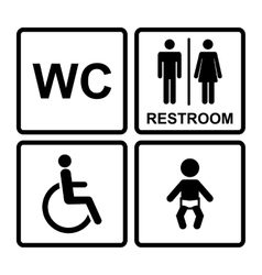black restroom icons vector image