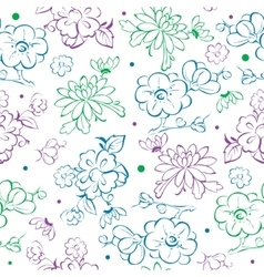Blue Purple Green Kimono Flowers Drawing vector