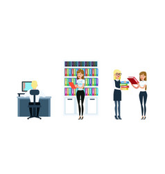 business people working in office set employees vector image