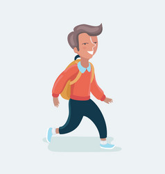 cartoon boy going to school vector image