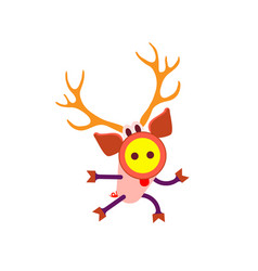 cartoon deer colorful christmas decoration vector image
