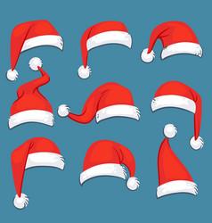 christmas santa claus red cartoon hats isolated vector image