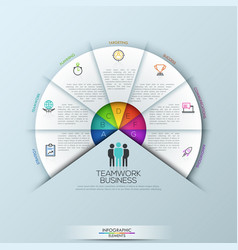 Circular infographic design template with 7 vector