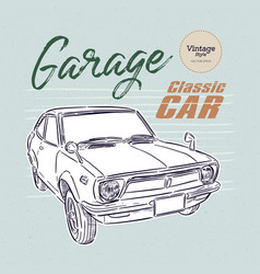 Classic car hand draw sketch vector
