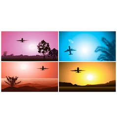 Colorful Airplane Travelling Set vector