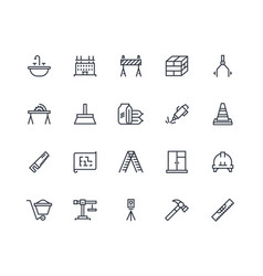 construction line icons building project and home vector image