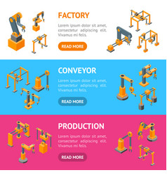 conveyor machines robotic hand banner horizontal vector image