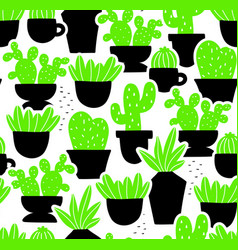 creative seamless pattern with home plants in hand vector image