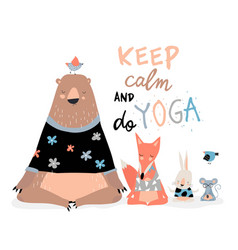 Cute animals sitting in yoga lotus pose and vector