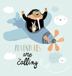 cute bear and rabbit on a plane in sky vector image