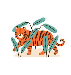 cute childish tiger cub in jungle plants adorable vector image