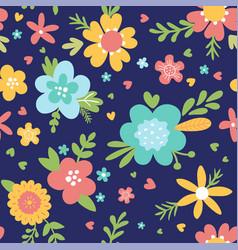 Cute flower pattern on dark blue background vector