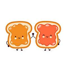 Cute funny bread toast with peanut butter and jam vector
