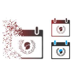 Destructed pixel halftone soldier laurel wreath vector