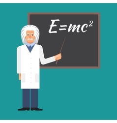 Einstein is standing next to the blackboard with vector