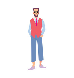 Elegant bearded man in pants and waistcoat vector