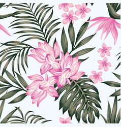 Exotic composition leaves flowers white vector
