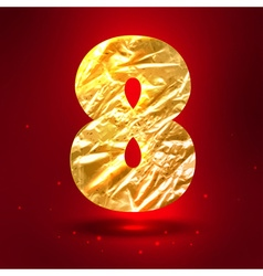 Figure 8 made of golden crumpled foil vector image