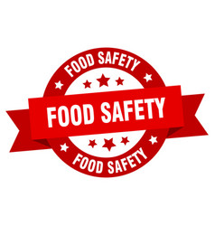 food safety ribbon food safety round red sign vector image